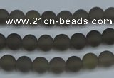 CAG9310 15.5 inches 4mm round matte grey agate beads wholesale