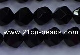 CAG9352 15.5 inches 8mm faceted nuggets black agate beads