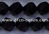 CAG9355 15.5 inches 14mm faceted nuggets black agate beads