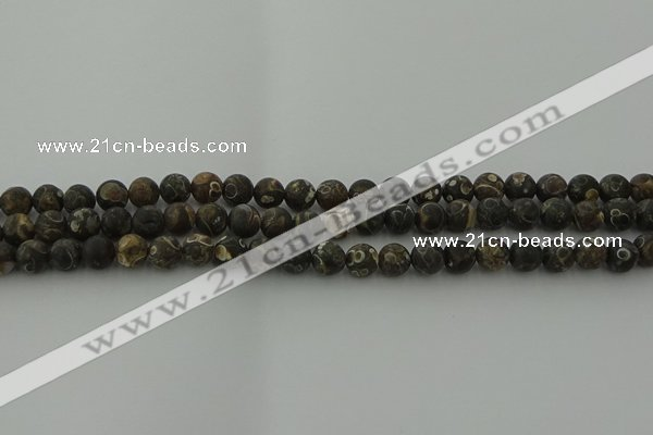 CAG9381 15.5 inches 6mm round matte turritella agate beads