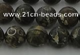 CAG9384 15.5 inches 12mm round matte turritella agate beads