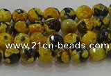 CAG9451 15.5 inches 6mm faceted round fire crackle agate beads