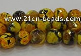 CAG9452 15.5 inches 8mm faceted round fire crackle agate beads