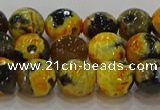 CAG9453 15.5 inches 10mm faceted round fire crackle agate beads