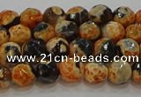 CAG9456 15.5 inches 6mm faceted round fire crackle agate beads