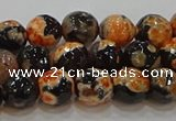 CAG9457 15.5 inches 8mm faceted round fire crackle agate beads