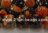 CAG9459 15.5 inches 12mm faceted round fire crackle agate beads