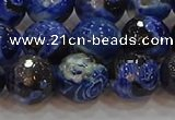 CAG9464 15.5 inches 12mm faceted round fire crackle agate beads