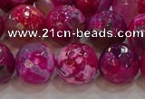 CAG9469 15.5 inches 12mm faceted round fire crackle agate beads