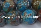 CAG9477 15.5 inches 16mm round blue crazy lace agate beads