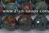 CAG9485 15.5 inches 14mm faceted round blue crazy lace agate beads