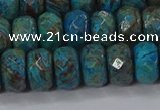 CAG9505 15.5 inches 6*10mm faceted rondelle blue crazy lace agate beads