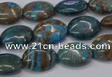 CAG9520 15.5 inches 10*14mm oval blue crazy lace agate beads