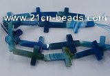 CAG9630 15.5 inches 32*48mm - 35*50mm cross dragon veins agate beads