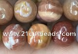 CAG9813 15.5 inches 10mm faceted round wood agate beads