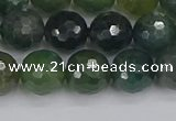 CAG9826 15.5 inches 10mm faceted round moss agate beads