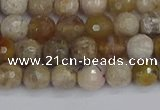 CAG9853 15.5 inches 6mm faceted round ocean fossil agate beads