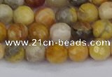CAG9869 15.5 inches 6mm faceted round yellow crazy lace agate beads