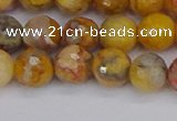CAG9870 15.5 inches 8mm faceted round yellow crazy lace agate beads