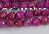 CAG9875 15.5 inches 4mm faceted round fuchsia crazy lace agate beads
