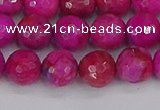 CAG9877 15.5 inches 8mm faceted round fuchsia crazy lace agate beads