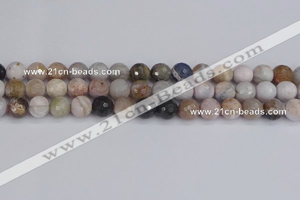 CAG9898 15.5 inches 8mm faceted round parrel dendrite agate beads