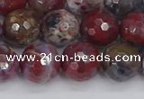 CAG9906 15.5 inches 10mm faceted round red lightning agate beads