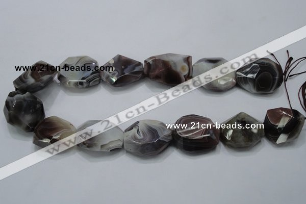 CAG991 15.5 inches 25*30mm faceted freeform botswana agate beads