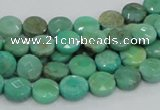 CAG993 15.5 inches 10mm faceted coin green grass agate gemstone beads