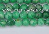 CAG9938 15.5 inches 4mm round green crazy lace agate beads