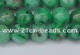 CAG9941 15.5 inches 10mm round green crazy lace agate beads