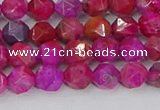 CAG9951 15.5 inches 6mm faceted nuggets fuchsia crazy lace agate beads