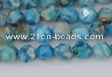 CAG9957 15.5 inches 6mm faceted nuggets blue crazy lace agate beads
