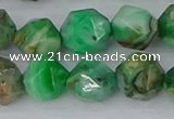CAG9966 15.5 inches 12mm faceted nuggets green crazy lace agate beads