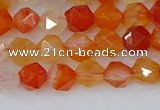 CAG9975 15.5 inches 6mm faceted nuggets red agate beads
