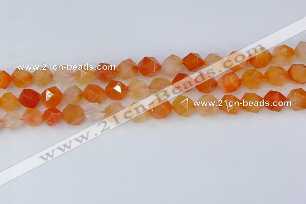 CAG9977 15.5 inches 10mm faceted nuggets red agate beads