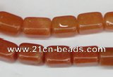 CAJ151 15.5 inches 10*13mm cuboid red aventurine jade beads