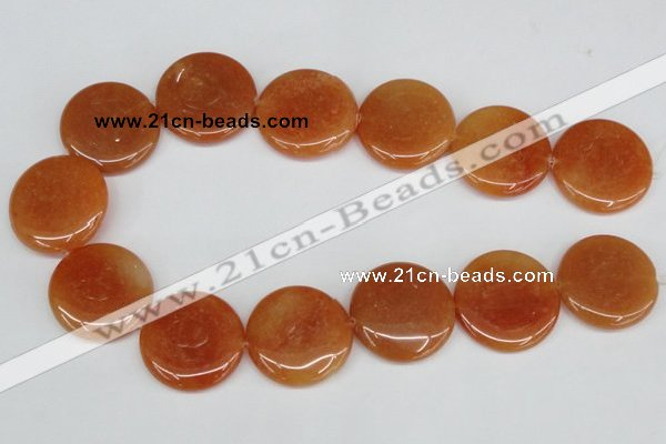 CAJ168 15.5 inches 30mm flat round red aventurine jade beads