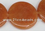 CAJ169 15.5 inches 35mm flat round red aventurine jade beads