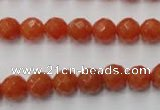 CAJ362 15.5 inches 8mm faceted round red aventurine beads wholesale