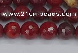 CAJ760 15.5 inches 8mm faceted round apple jasper beads