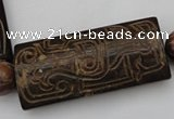 CAL12 14.5 inches 28*60mm carved rectangle agalmatolite beads