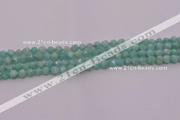 CAM1436 15.5 inches 6mm faceted nuggets amazonite gemstone beads