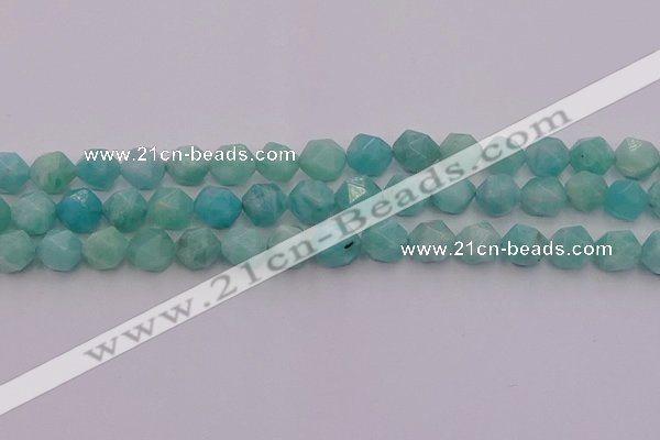 CAM1438 15.5 inches 10mm faceted nuggets amazonite gemstone beads