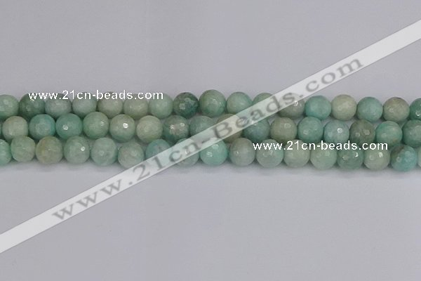 CAM1453 15.5 inches 10mm faceted round amazonite gemstone beads