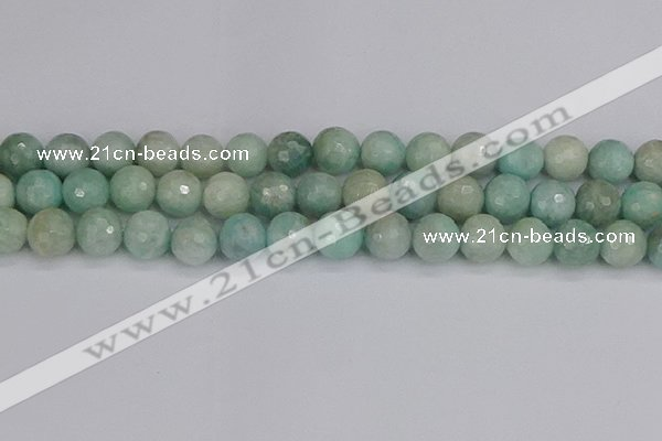CAM1454 15.5 inches 12mm faceted round amazonite gemstone beads