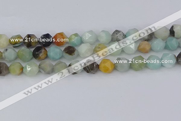 CAM1469 15.5 inches 12mm faceted nuggets black amazonite beads