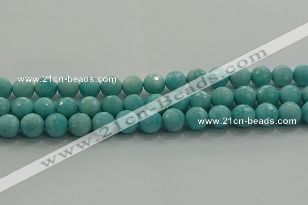 CAM1524 15.5 inches 12mm faceted round natural peru amazonite beads