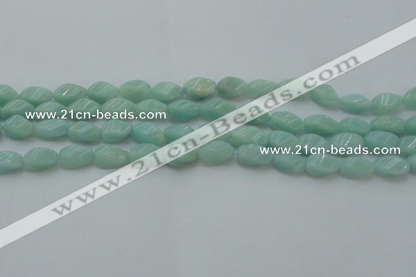 CAM361 15.5 inches 7*14mm twisted rice amazonite gemstone beads