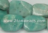 CAM413 18*25mm faceted & twisted rectangle natural russian amazonite beads